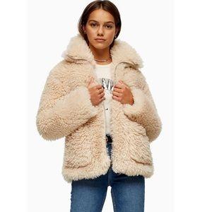 NWT TOPSHOP Fluffy Teddy Bear Coat in Cream